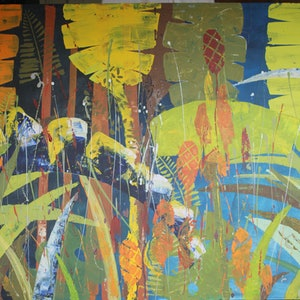 (CreativeWork) Tropicana 1 by Stephen Mills. arcylic-painting. Shop online at Bluethumb.