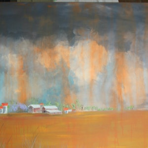 (CreativeWork) Dust Storm by Stephen Mills. arcylic-painting. Shop online at Bluethumb.