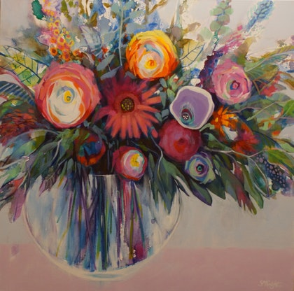 (CreativeWork) SPRING HAS SPRUNG by Sandra Michele Knight. arcylic-painting. Shop online at Bluethumb.
