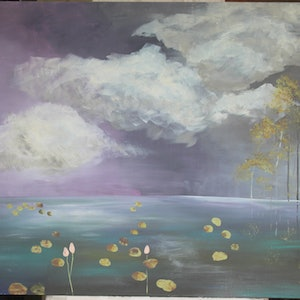 (CreativeWork) Dusk by Stephen Mills. arcylic-painting. Shop online at Bluethumb.