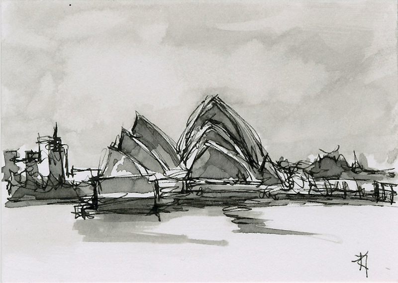 (CreativeWork) Sydney Opera House - Framed Miniature Art by Kylie Fogarty. drawing. Shop online at Bluethumb.
