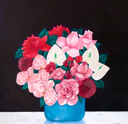 (CreativeWork) Pink Blooms by Anna Bektash. arcylic-painting. Shop online at Bluethumb.