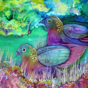 (CreativeWork) Pigeon Pair by Ann Russell. mixed-media. Shop online at Bluethumb.