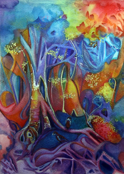 (CreativeWork) Foraging by Ann Russell. mixed-media. Shop online at Bluethumb.