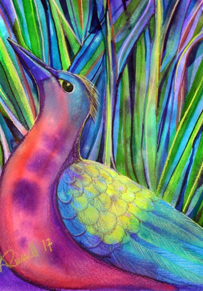 (CreativeWork) Avian Discovery by Ann Russell. mixed-media. Shop online at Bluethumb.