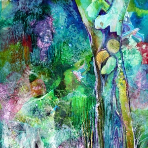 (CreativeWork) Old Man Forest by Ann Russell. mixed-media. Shop online at Bluethumb.
