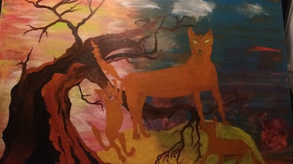 (CreativeWork) dingos are watching by Louise Tyler. arcylic-painting. Shop online at Bluethumb.