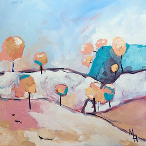 (CreativeWork) Lollipop Trees by Meredith Howse. arcylic-painting. Shop online at Bluethumb.