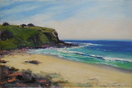(CreativeWork) Beach Headland 2 by Anne Strambi. oil-painting. Shop online at Bluethumb.