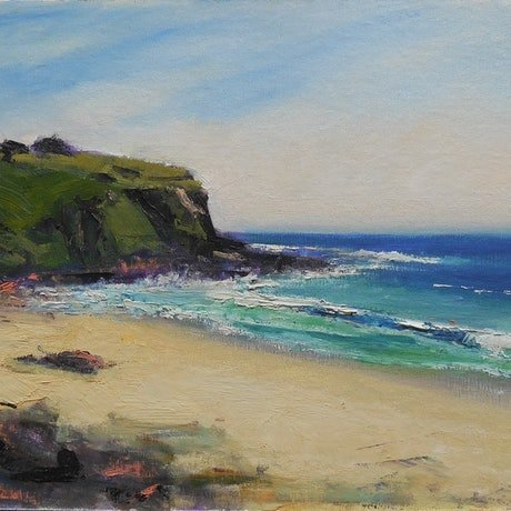 (CreativeWork) Beach Headland 2 by Anne Strambi. Oil Paint. Shop online at Bluethumb.