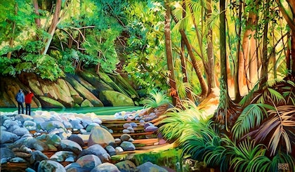 (CreativeWork) A bend in the stream by Susan Skuse. oil-painting. Shop online at Bluethumb.