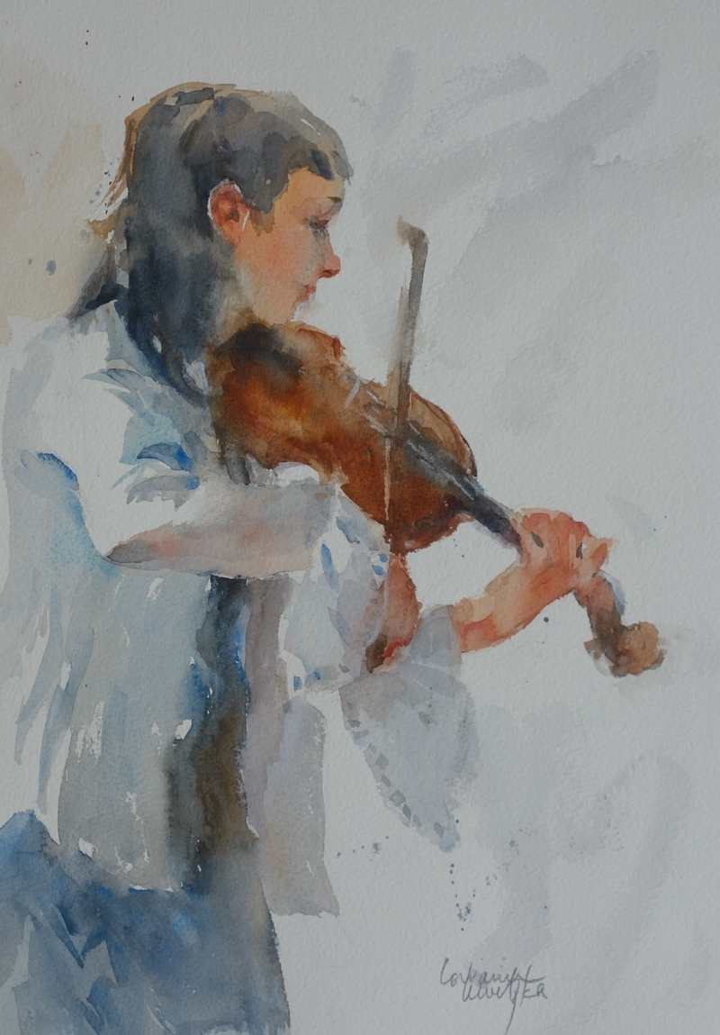 (CreativeWork) Fiddle Player by Lorraine Lewitzka. watercolour. Shop online at Bluethumb.