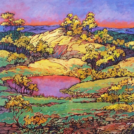 (CreativeWork) Hilltop by Wayne Smith. Acrylic Paint. Shop online at Bluethumb.