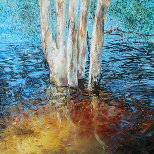(CreativeWork) brown lake water dance by Trevor Salisbury. oil-painting. Shop online at Bluethumb.