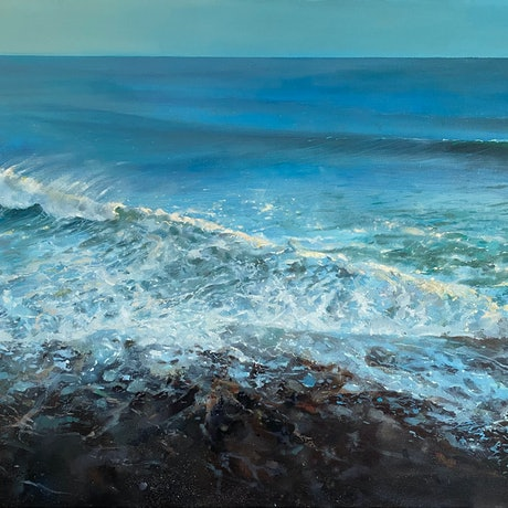 (CreativeWork) cylinder beach early morning by Trevor Salisbury. Oil Paint. Shop online at Bluethumb.
