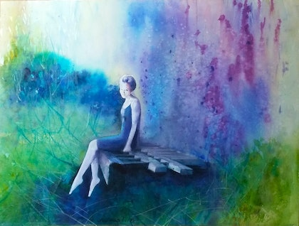 (CreativeWork) lady on seat by peter smart. watercolour. Shop online at Bluethumb.