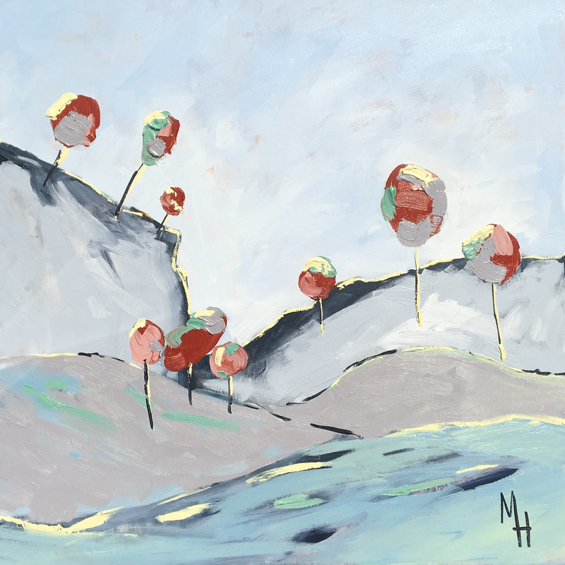 (CreativeWork) Red Lollipop Trees  by Meredith Howse. arcylic-painting. Shop online at Bluethumb.