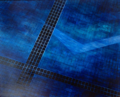 (CreativeWork) Reflections in Blue by Adam Fisher. Acrylic Paint. Shop online at Bluethumb.