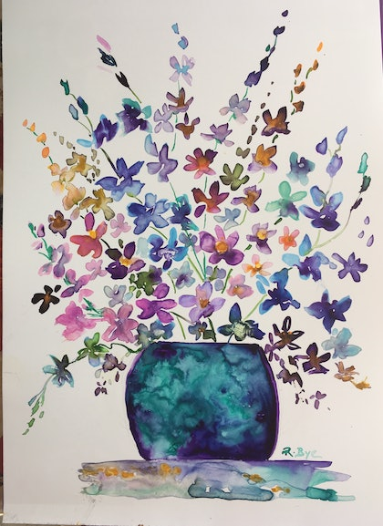(CreativeWork) Singapore Orchids .  by Ruth Bye. watercolour. Shop online at Bluethumb.