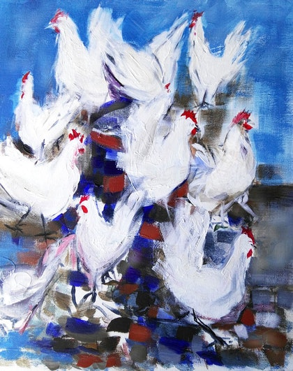 (CreativeWork) HENS PARTY by Lynne Parfitt. arcylic-painting. Shop online at Bluethumb.