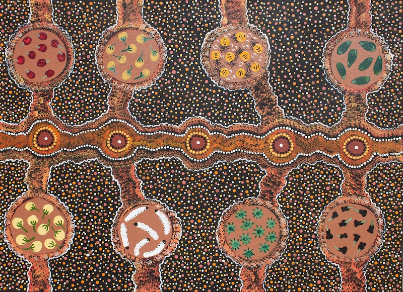 (CreativeWork) Bush tucker 271-18 by Pauline Golding. arcylic-painting. Shop online at Bluethumb.