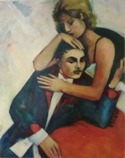 (CreativeWork) Loving couple by Margit Major. arcylic-painting. Shop online at Bluethumb.