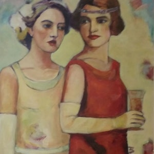 (CreativeWork) Flapper girls 1 by Margit Major. arcylic-painting. Shop online at Bluethumb.