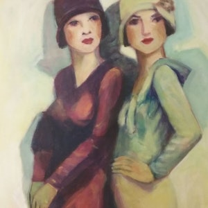 (CreativeWork) Flapper girls 2 by Margit Major. arcylic-painting. Shop online at Bluethumb.