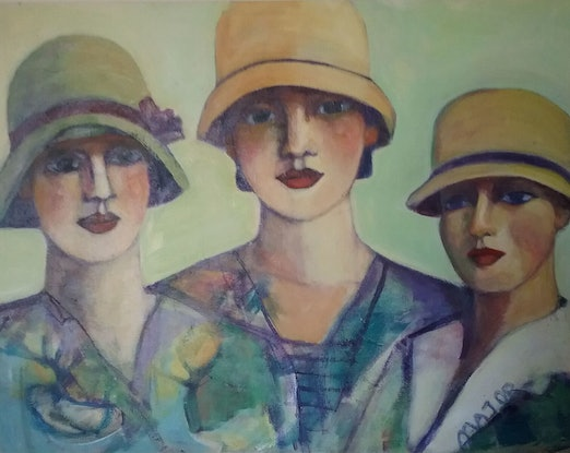 (CreativeWork) Ladies with hat by Margit Major. Acrylic Paint. Shop online at Bluethumb.