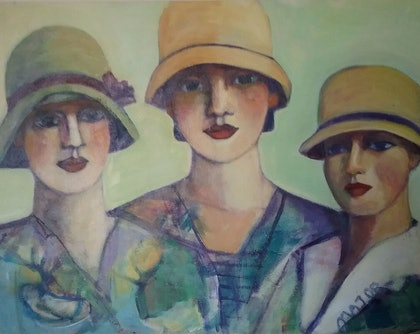 (CreativeWork) Ladies with hat by Margit Major. arcylic-painting. Shop online at Bluethumb.