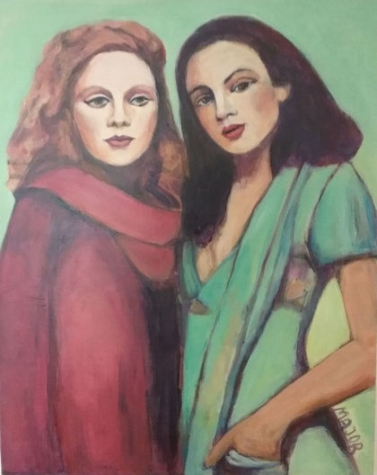 (CreativeWork) 2 girl friends by Margit Major. arcylic-painting. Shop online at Bluethumb.