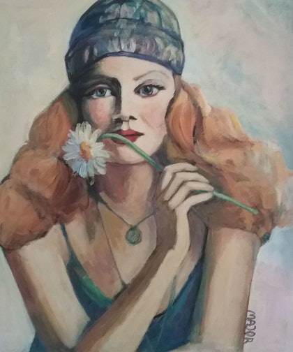 (CreativeWork) Girl with scarf by Margit Major. arcylic-painting. Shop online at Bluethumb.