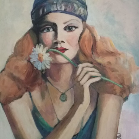 (CreativeWork) Girl with scarf by Margit Major. Acrylic Paint. Shop online at Bluethumb.