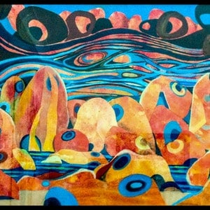 (CreativeWork) Streams in the desert by Robyn Jackson. mixed-media. Shop online at Bluethumb.