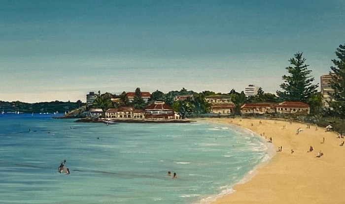 (CreativeWork) Manly beach wharf to ocean world  by Jennie Jones. Acrylic Paint. Shop online at Bluethumb.