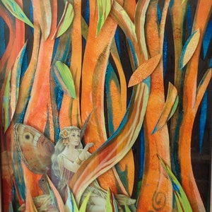 (CreativeWork) In the woods by Robyn Jackson. mixed-media. Shop online at Bluethumb.