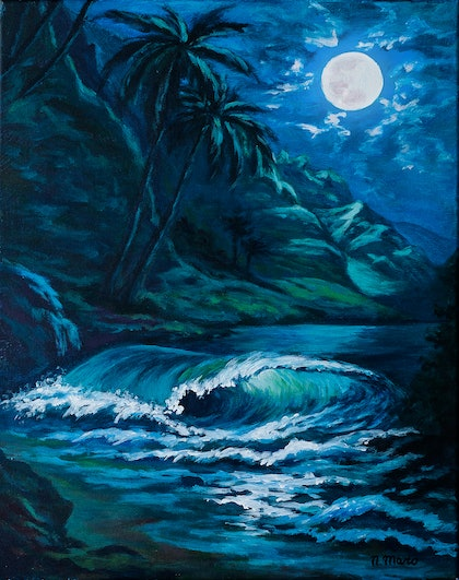(CreativeWork) Moon Night by Natalie Maro. arcylic-painting. Shop online at Bluethumb.
