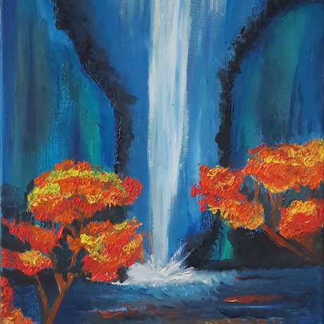 (CreativeWork) **PRICE REDUCED** Autumn dreams by Anjana Varma. Oil Paint. Shop online at Bluethumb.