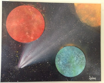 (CreativeWork) Comets #1 by Kimberley Nean. arcylic-painting. Shop online at Bluethumb.