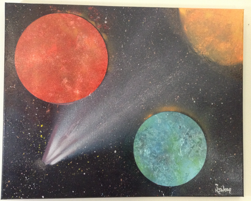 (CreativeWork) Comets #1 by Kimberley Nean. acrylic-painting. Shop online at Bluethumb.