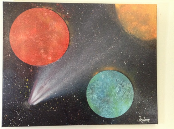 (CreativeWork) Comets #1 by Kimberley Nean. Acrylic Paint. Shop online at Bluethumb.