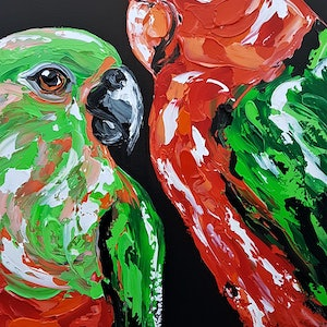 (CreativeWork) King Parrot Pair  by Lisa Fahey. arcylic-painting. Shop online at Bluethumb.