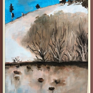 (CreativeWork) A winter's morning: Subliminal mountain and lake by Chandana Manjunath. oil-painting. Shop online at Bluethumb.