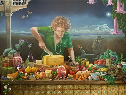 (CreativeWork) Lisa's Feast by Llael McDonald. oil-painting. Shop online at Bluethumb.