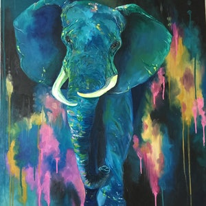 (CreativeWork) Elephant Eternal Strength by Cherry Demir. oil-painting. Shop online at Bluethumb.