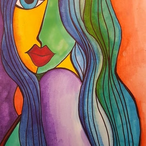 (CreativeWork) Face by Nichole Gigliotti. drawing. Shop online at Bluethumb.