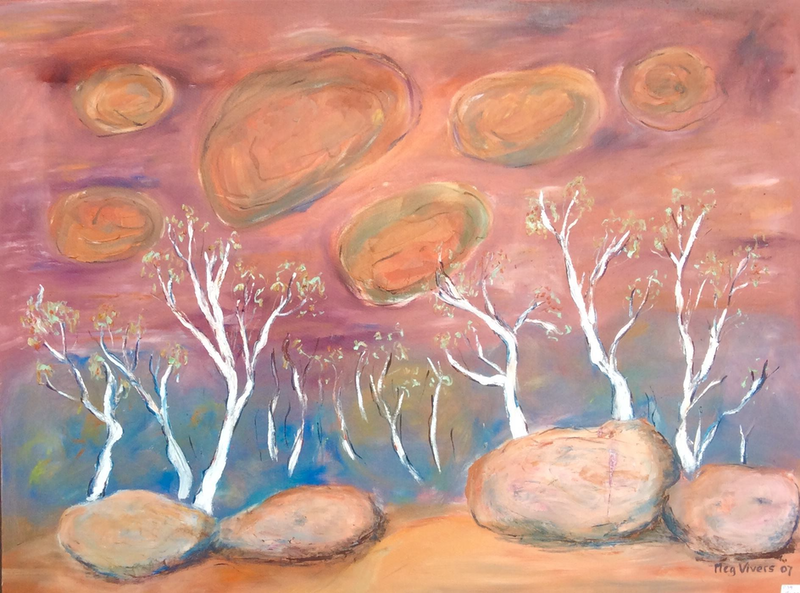 (CreativeWork) Rock Wall, the Olgas by Meg Vivers. oil-painting. Shop online at Bluethumb.