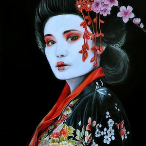 (CreativeWork) Oriental Beauty by Leanne Moss. drawing. Shop online at Bluethumb.