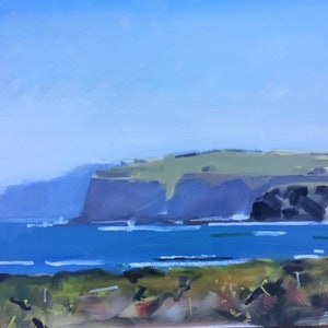 (CreativeWork) Blue on Blue, Kilcunda by Ray Wilson. oil-painting. Shop online at Bluethumb.