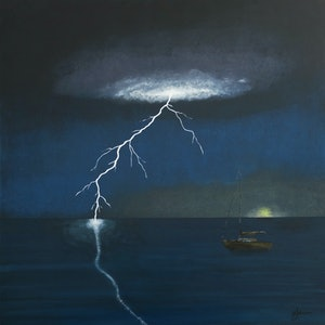 (CreativeWork) Ocean Strike by Barry Johnson. arcylic-painting. Shop online at Bluethumb.